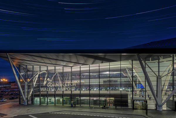 Bluehour Photograph - Star Trails Over Gdansk Aiport by Patryk Janota