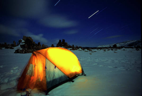 Tent Photograph - Star Trails Over Winter Tent by Buck Forester