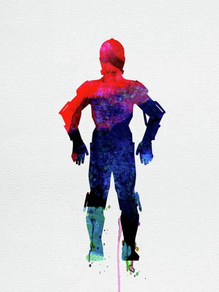 Movie Poster Mixed Media - Star Warrior C-3po Watercolor by Naxart Studio