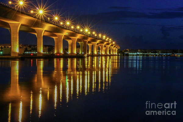 Art Print featuring the photograph Starburst Bridge Reflection by Tom Claud