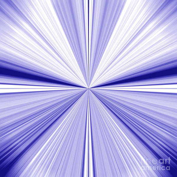 Starburst Light Beams In Blue And White Abstract Design - Plb455 Art Print
