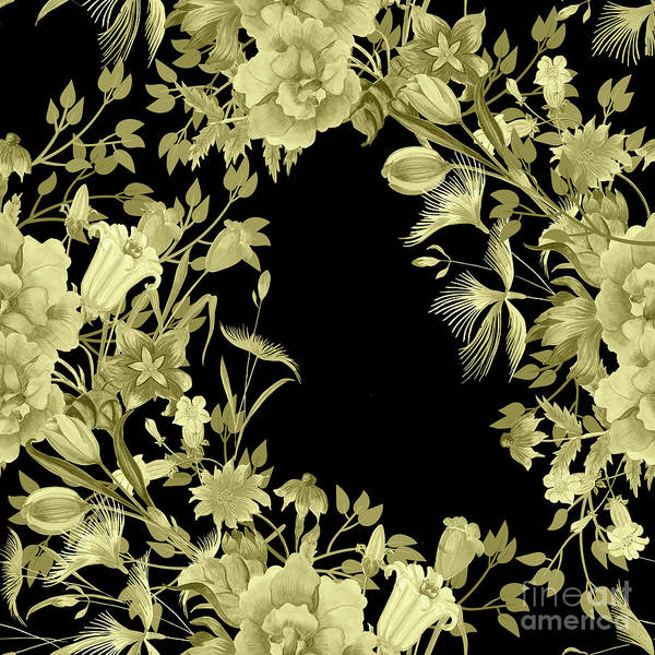 Digital Art - Stardust Black And Gold Floral Motif  by Sharon Mau