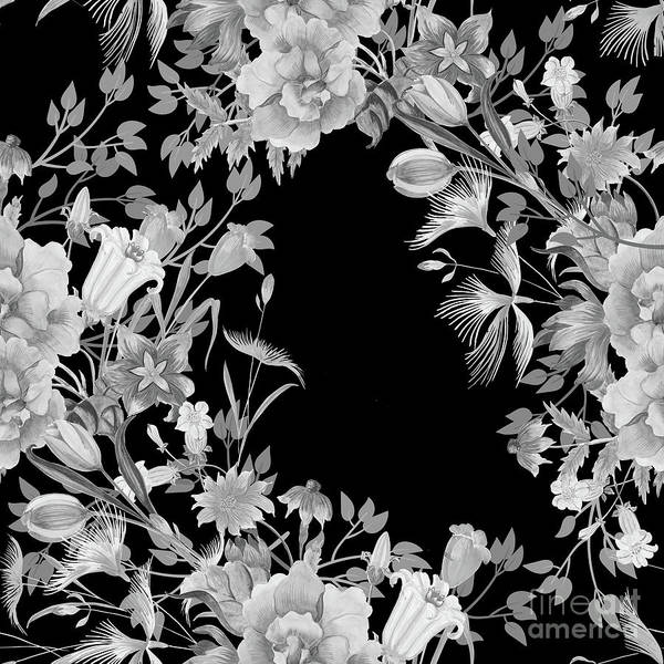 Digital Art - Stardust Black And White Floral Motif  by Sharon Mau