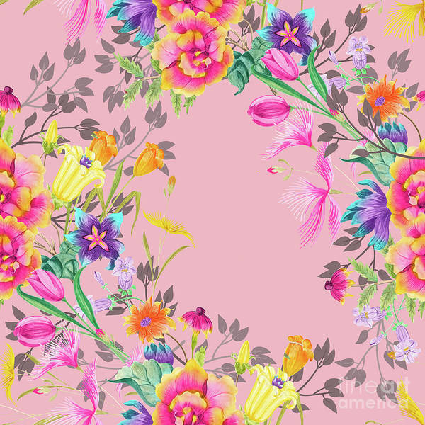 Wall Art - Digital Art - Stardust Pink Floral Motif by Sharon Mau
