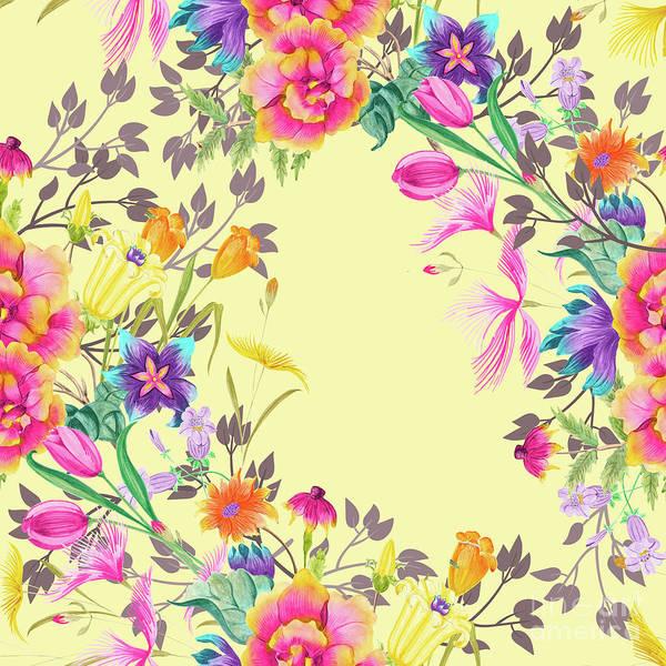 Wall Art - Digital Art - Stardust Yellow Floral Motif by Sharon Mau