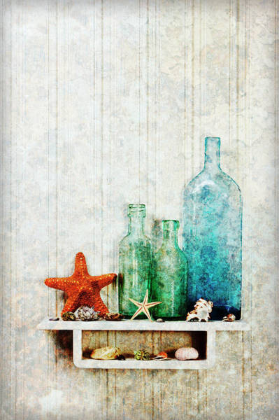 Bottle Green Photograph - Starfish, Seashells And Bottles by James A. Guilliam