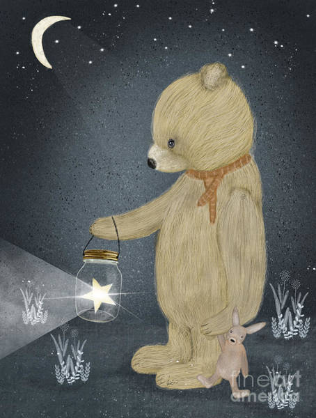 Teddy Bear Painting - Starlight Bear by Bri Buckley