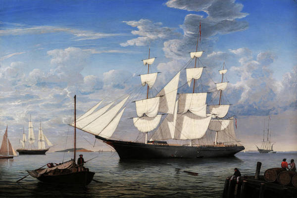 Wall Art - Painting - Starlight In Harbor, 1855 by Fitz Henry Lane