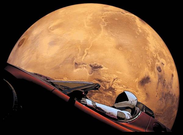 Wall Art - Digital Art - Starman In Orbit Around Mars by Filip Hellman