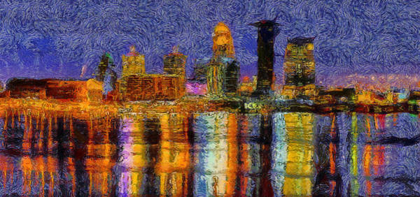 Wall Art - Painting - Starry Louisville Skyline by Dan Sproul