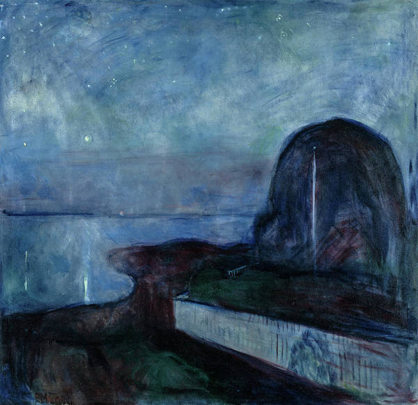 Wall Art - Painting - Starry Night, 1893 by Edvard Munch