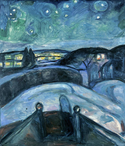 Wall Art - Painting - Starry Night, 1924 by Edvard Munch