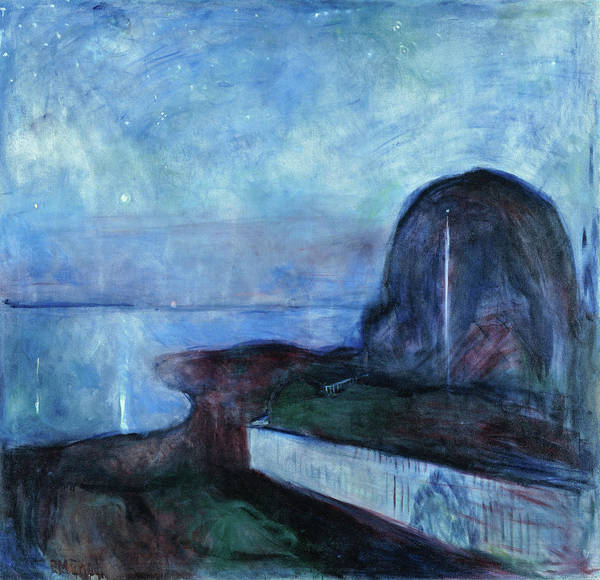 Starry Night Wall Art - Painting - Starry Night - Digital Remastered Edition by Edvard Munch