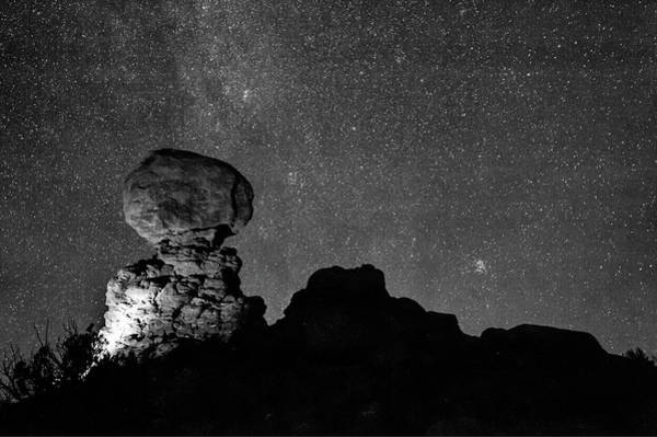Photograph - Starry Night In Arches National Park - Moab Utah Monochrome by Gregory Ballos