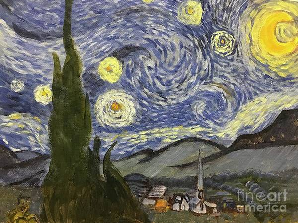 Painting - Starry Night by Linda Anderson after Van Gogh