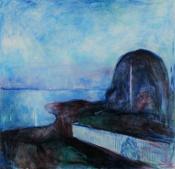 Starry Night Wall Art - Painting - Starry Night - Original Light Blue Edition by Edvard Munch