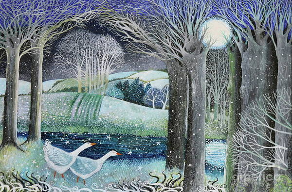 Full Moon Painting - Starry River by Lisa Graa Jensen