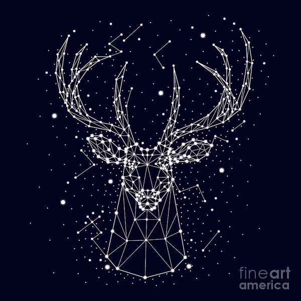 Reindeer Wall Art - Digital Art - Starry Sky, Constellation, Deer by Chikovnaya