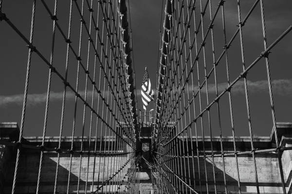 Photograph - Stars And Stripes Between Cables On The Brooklyn Bridge In Monochrome by Mark Hunter