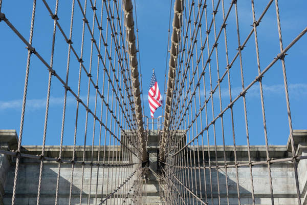 Photograph - Stars And Stripes Between Cables On The Brooklyn Bridge by Mark Hunter