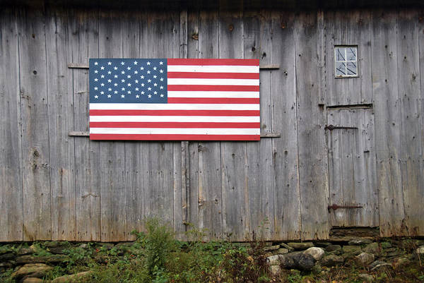 Horizontal Stripes Photograph - Stars And Stripes On An Old Barn by Frankvandenbergh