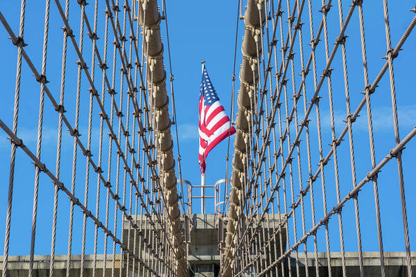 Photograph - Stars And Stripes On Brooklyn Bridge by Mark Hunter