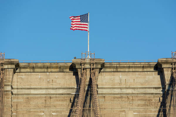 Photograph - Stars And Stripes On The Brooklyn Bridge by Mark Hunter