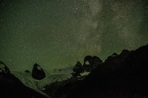 Bugaboo Photograph - Stars Over A Mountain Range With by Topher Donahue