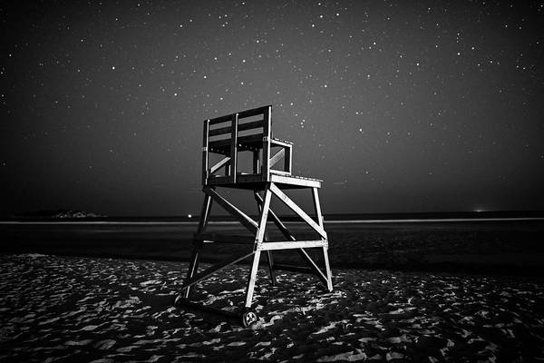 Photograph - Stars Over Good Harbor Beach Lifeguard Chair Gloucester Ma Black And White by Toby McGuire