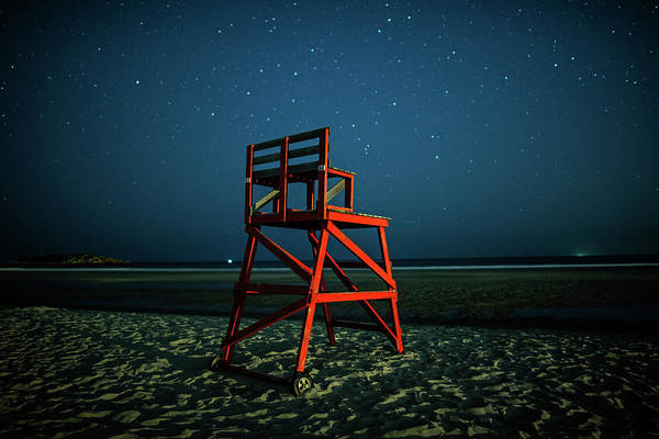 Photograph - Stars Over Good Harbor Beach Lifeguard Chair Gloucester Ma by Toby McGuire