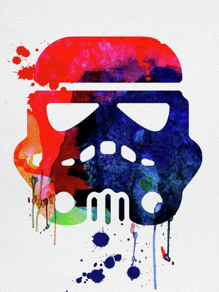 Movie Poster Mixed Media - Starship Trooper Watercolor Cartoon by Naxart Studio