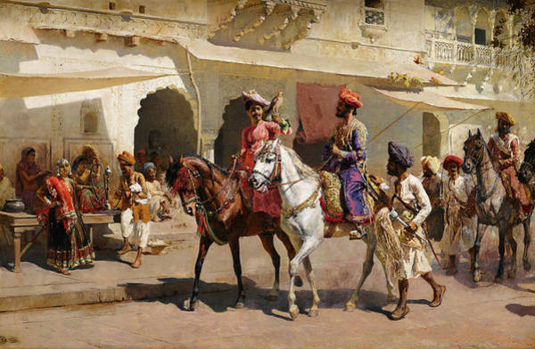 Seer Wall Art - Painting - Start For The Hunt At Gwalior by Edwin Lord Weeks