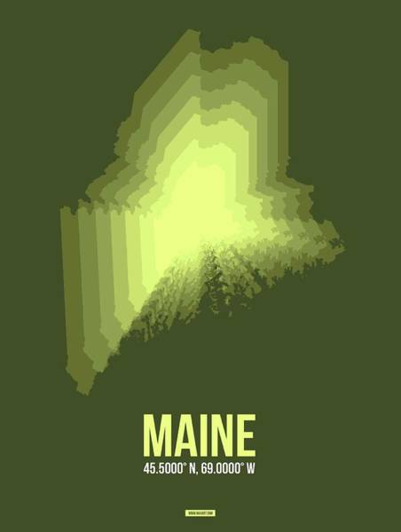Wall Art - Digital Art - State Map Of Maine  by Naxart Studio