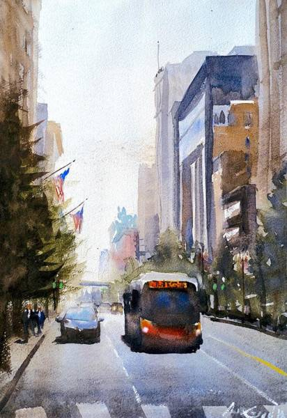 Redwood City Wall Art - Painting - State Street Chicago by Max Good