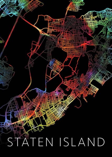 Island Mixed Media - Staten Island New York Watercolor City Street Map Dark Mode by Design Turnpike