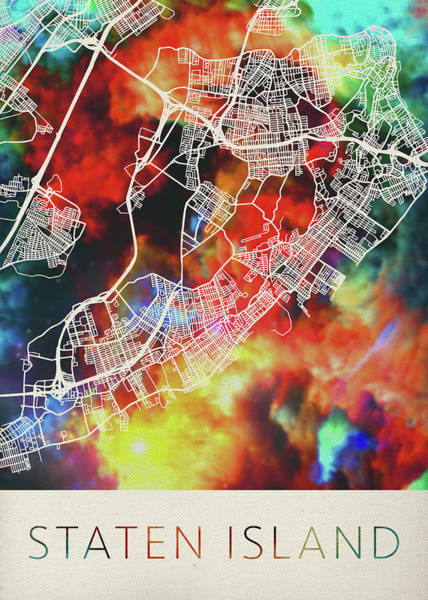 Island Mixed Media - Staten Island New York Watercolor City Street Map by Design Turnpike