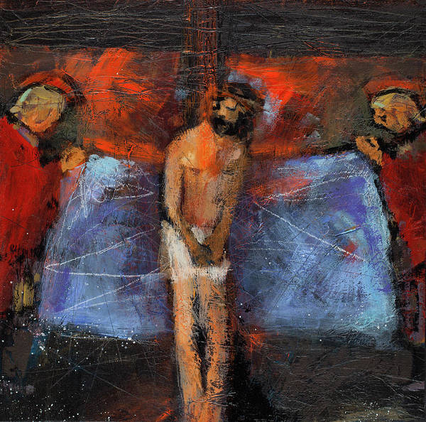 Wall Art - Painting - Station 10 Jesus Stripped Of His Garments by Jen Norton