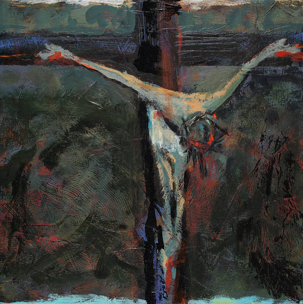 Wall Art - Painting - Station 12 Jesus Dies On The Cross by Jen Norton