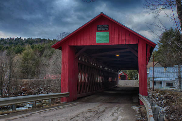 Photograph - Station Covered Bridge - Northfield Falls Vermont by Jeff Folger