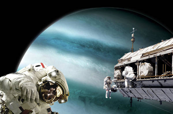 Space Station Mixed Media - Station Work No.12 by Marc Ward