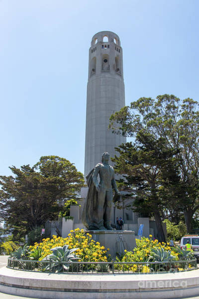 Photograph - Statue Of Columbus At Coit Tower Telegraph Hill San Francisco California R537 by Wingsdomain Art and Photography