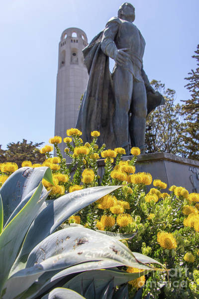Photograph - Statue Of Columbus At Coit Tower Telegraph Hill San Francisco California R539 by Wingsdomain Art and Photography
