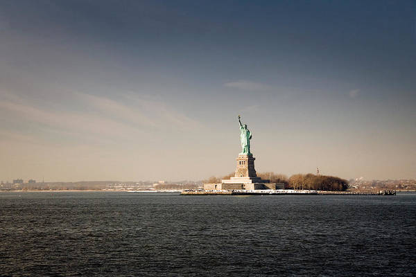 Statue Photograph - Statue Of Liberty At Sunset, View From by Stefano Tronci
