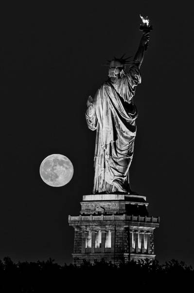Photograph - Statue Of Liberty Moon Rise Bw by Susan Candelario
