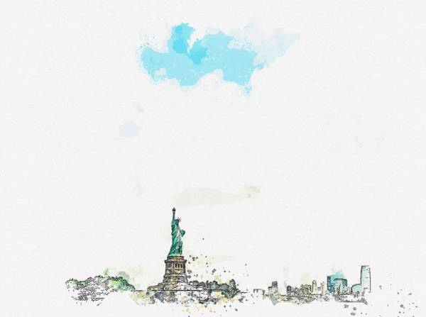 Painting - Statue Of Liberty National Monument, New York, United States Watercolor By Ahmet Asar by Ahmet Asar