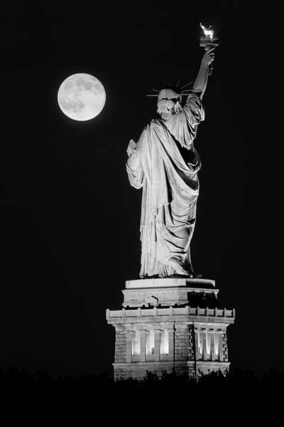 Photograph - Statue Of Liberty Supermoon Bw- by Susan Candelario