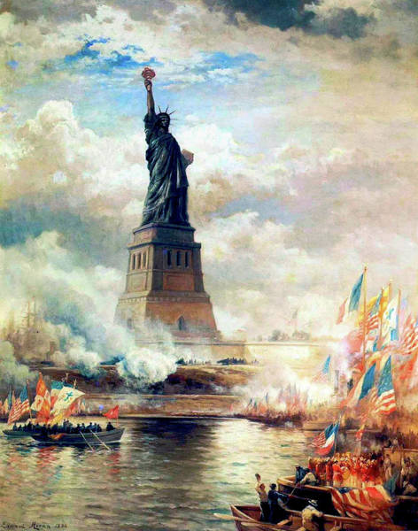 Wall Art - Painting - Statue Of Liberty Unveiled by Edward Moran