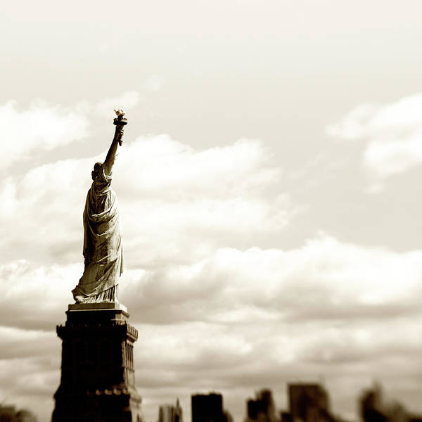 Statue Photograph - Statue Of Liberty,nyc.sepia Toned by Lisa-blue
