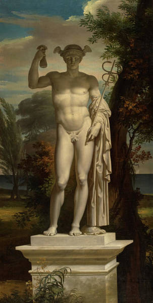 Wall Art - Painting - Statue Of Mercury by Charles Meynier