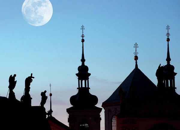 Symbolism Photograph - Statues And Spires In Silhouette, Prague by Shanna Baker